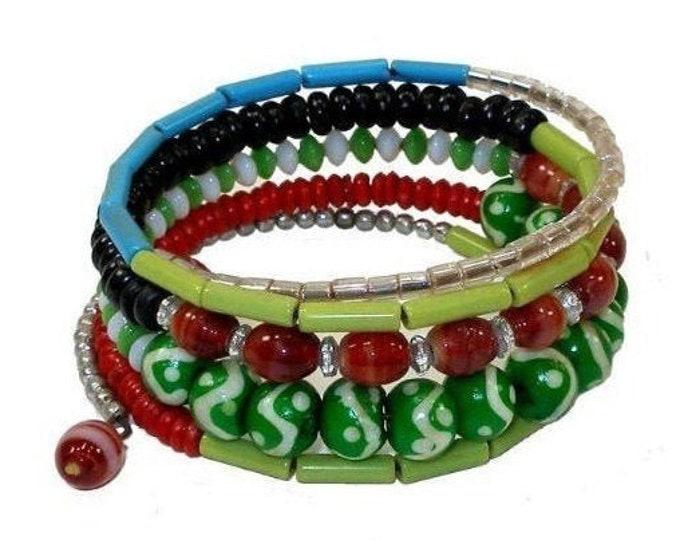 Five Turn Bead and Bone Bracelet - Green & Blues - CFM
