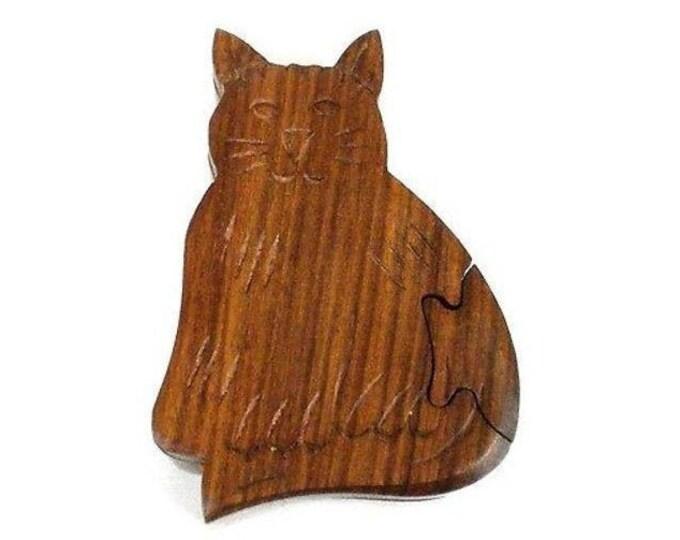 Handcrafted Sheesham Wood Cat Puzzle Box - Noahs Ark