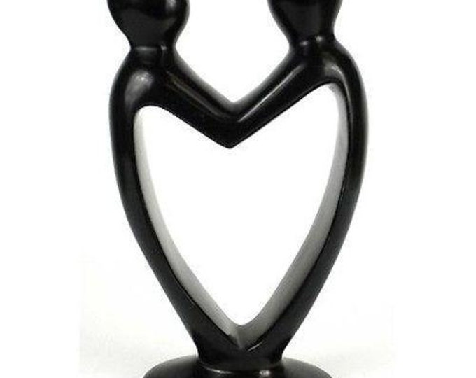 Handcrafted Soapstone Lover's Heart Sculpture in Black - Smolart