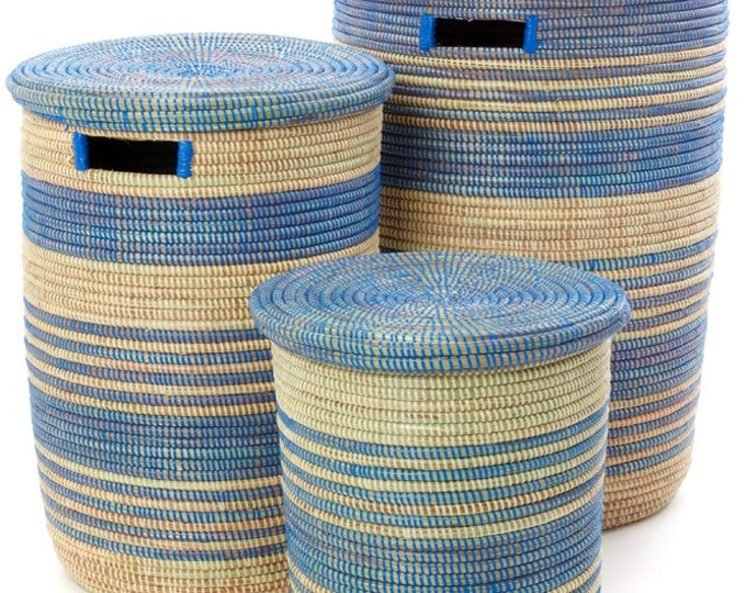 Set of Three Blue Ebb & Flow Striped Hampers