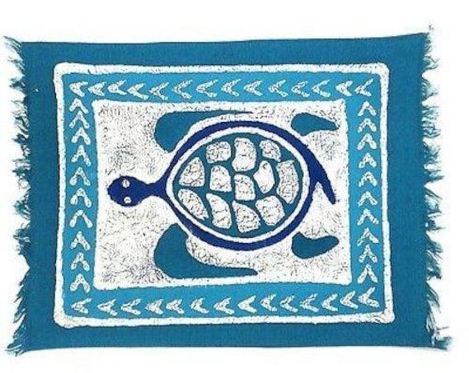 Handpainted Blue Turtle Batiked Placemat - Tonga Textiles
