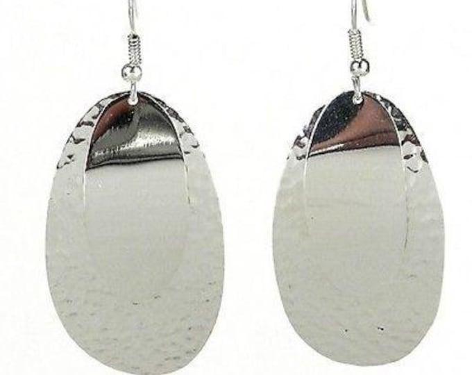 Large Silverplated Double Oval Earrings - Artisana
