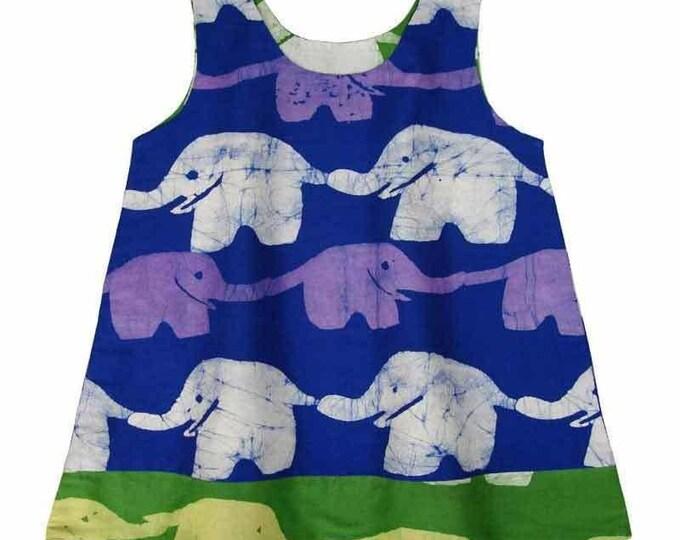 Reversible Baby Dress Blue and Lime Elephants - Global Mamas (B)