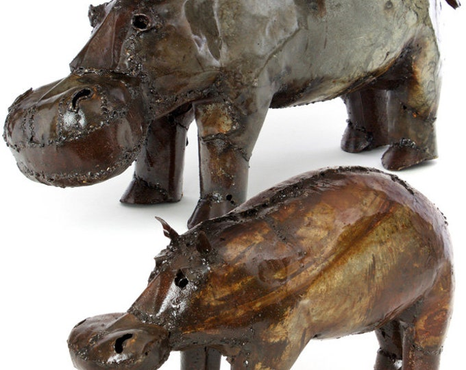 Recycled Oil Drum Hippo Sculptures
