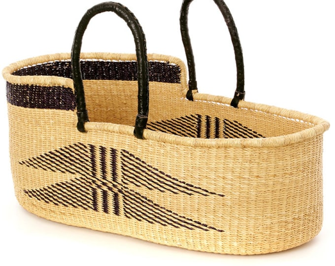 Ghanaian Angel Wings Moses Basket with Leather Handles