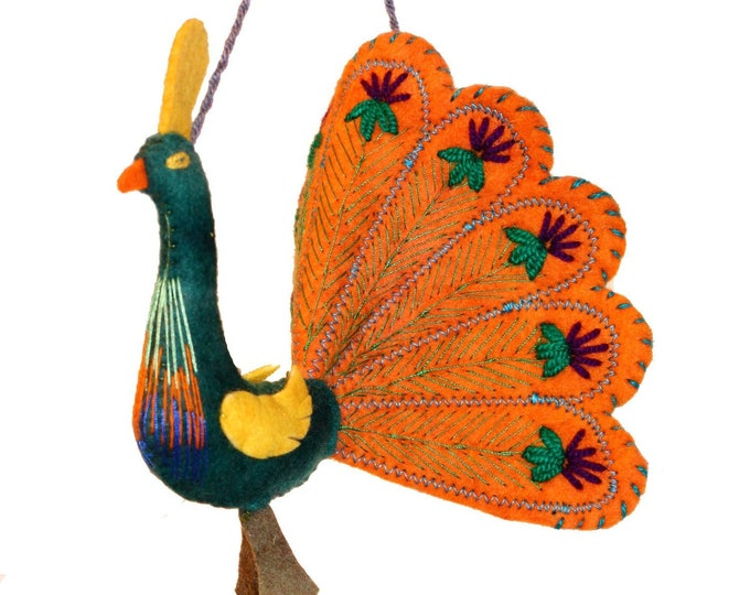 Orange Peacock Felt Holiday Ornament - Silk Road Bazaar (O)