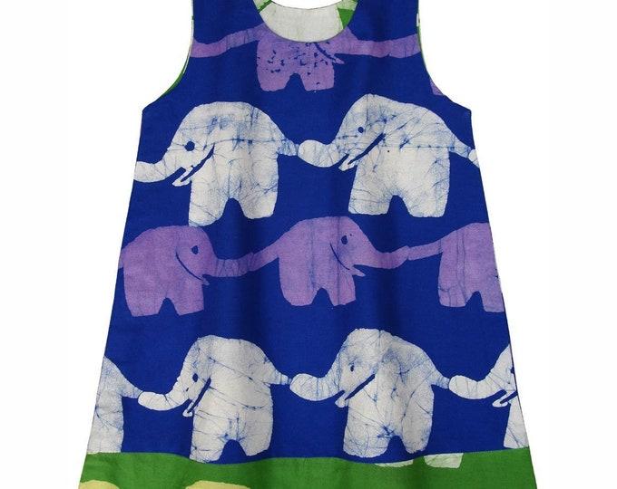 Girls Reversible Dress - Blueberry Lime Elephants - Global Mamas (C)