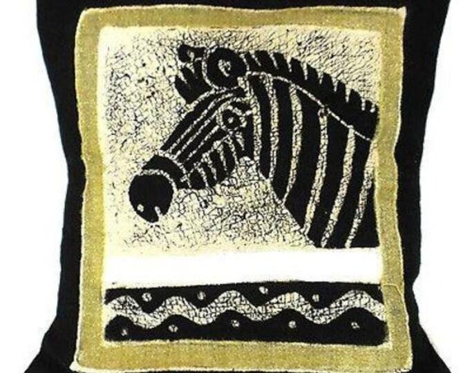 Handmade Black and White Zebra Batik Cushion Cover - Tonga Textiles