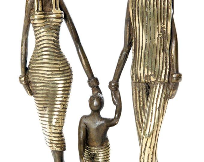Lustrous Life Loving Family Sculpture