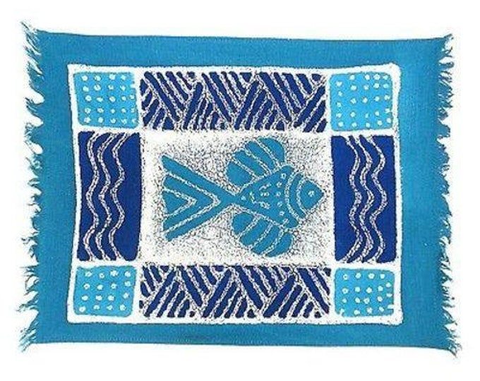 Handpainted Blue Fish Batiked Placemat - Tonga Textiles