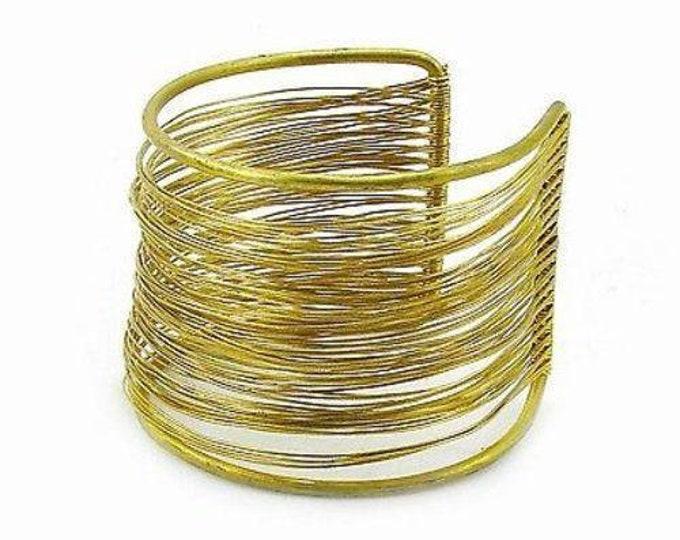 Dozens of Strands Brass Wire Cuff - WorldFinds