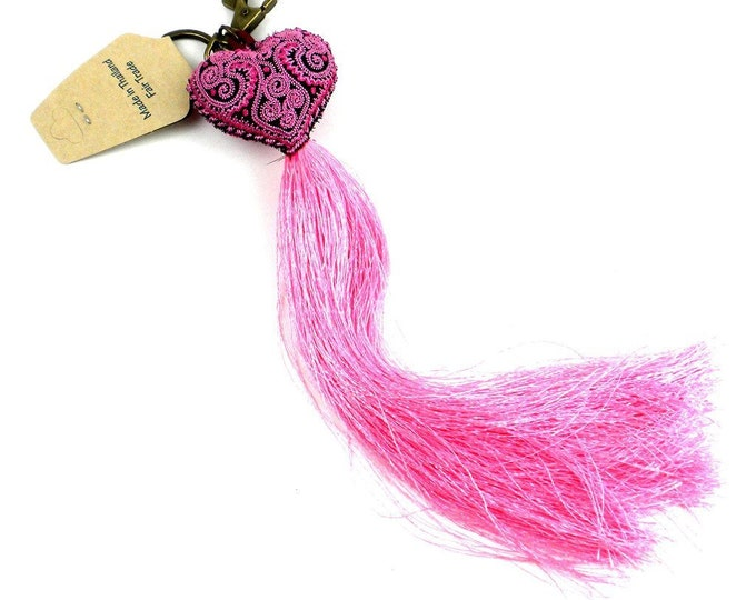Heart Tassel key chain - Pink - Global Groove (A)