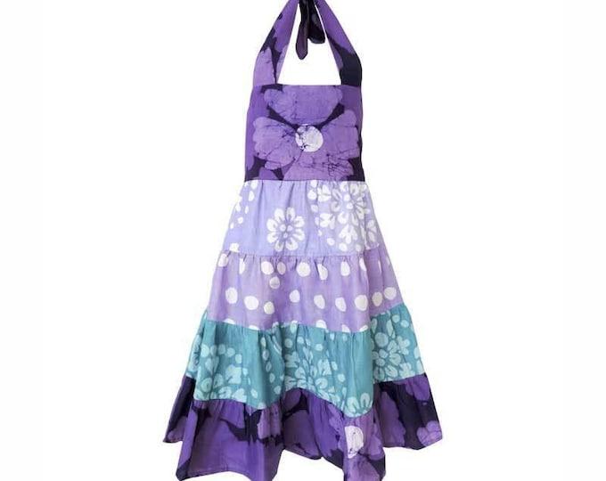 Girls Gypsy Dress - Violet Patchwork - Global Mamas (C)