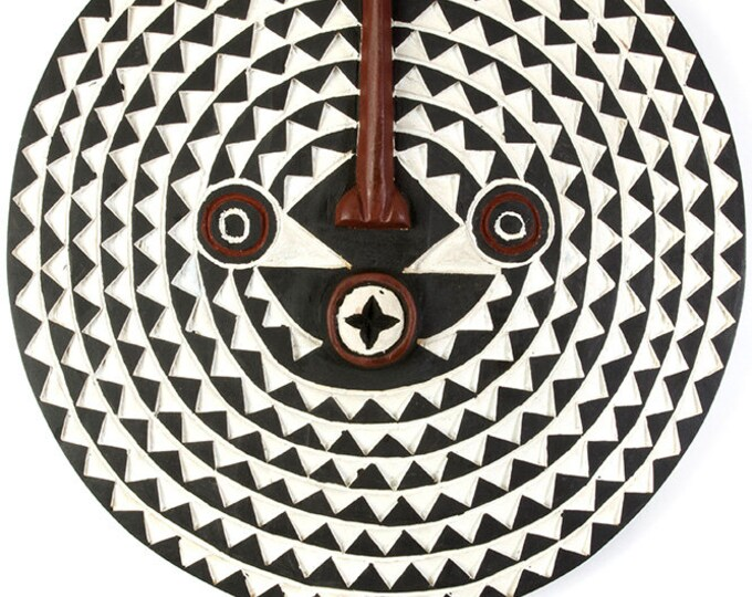 Large Bwa Wooden Sun Mask Decor - Fair Trade