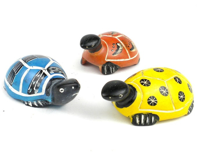 Set of 3 Mini Handcrafted Soapstone Turtles - Smolart