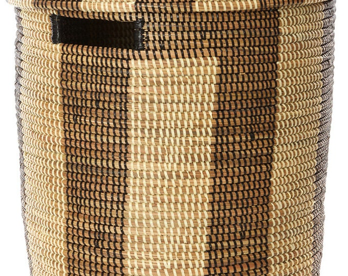 Black and Cream Boulevard Basket with Flat Lid