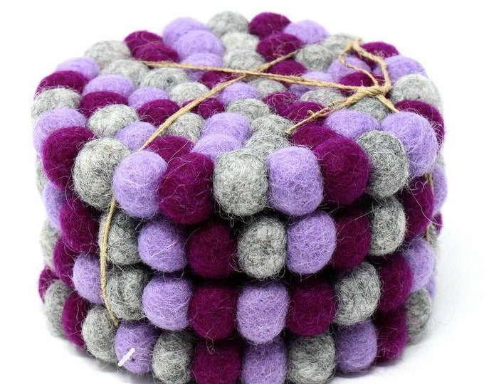 Hand Crafted Felt Ball Coasters from Nepal: 4-pack, Chakra Purples - Global Groove (T)