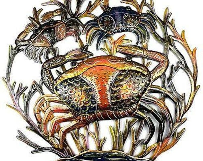 24-Inch Painted Crabs Metal Wall Art - Croix des Bouquets