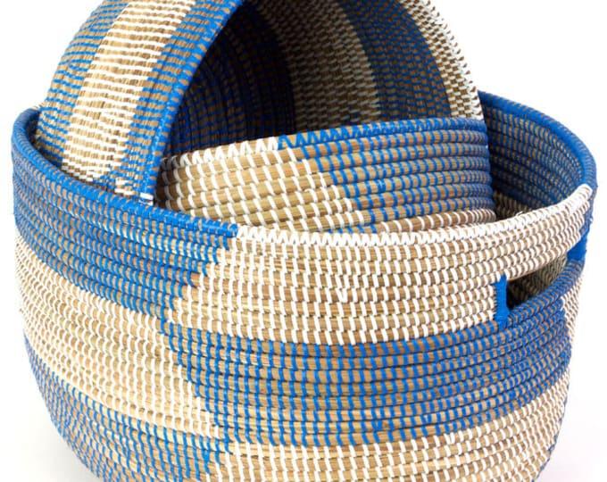 Set of Three Blue Herringbone Sewing Baskets