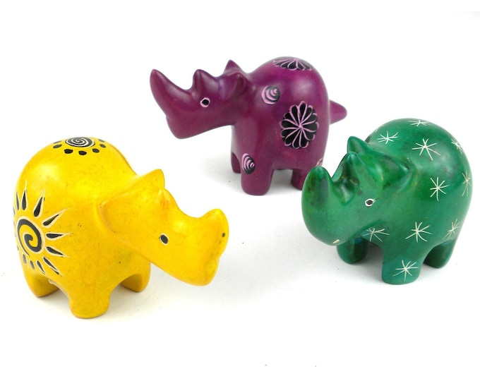 Set of 3 Mini Handcrafted Soapstone Rhino - Smolart