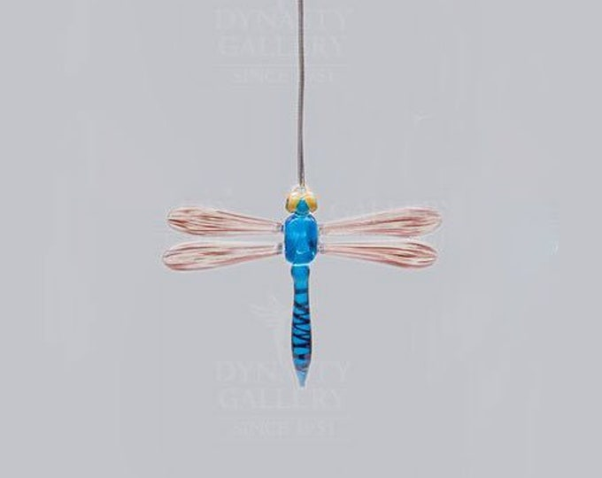 Hand Crafted Glass Christmas Tree Ornament or Figurine, Dragonfly (Blue)