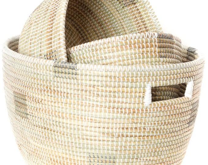 Set of Three White Block Print Prayer Mat Sewing Baskets