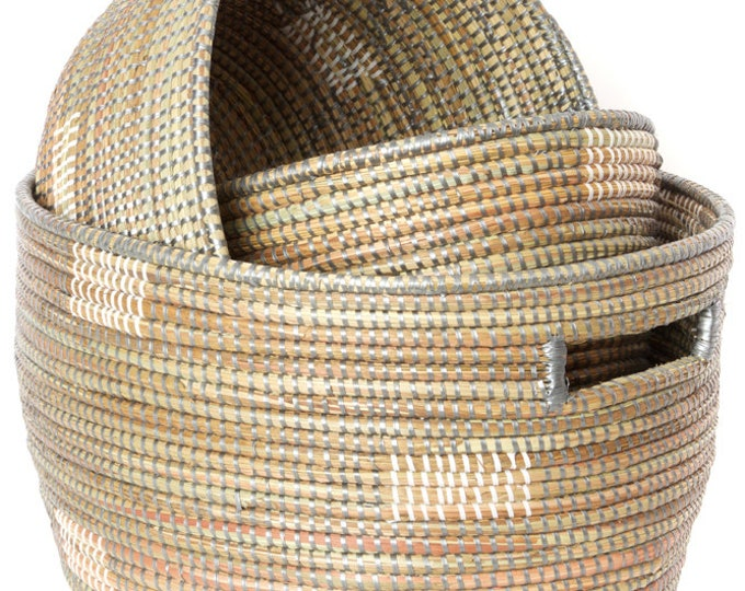 Set of Three Grey Block Print Prayer Mat Sewing Baskets