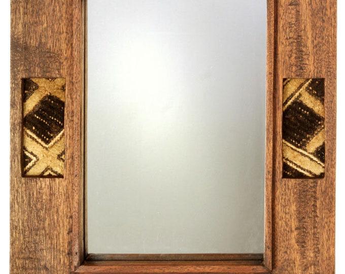 Kenyan Wooden Mirror with Kuba Cloth