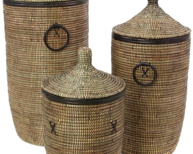 Set of Three Black Hampers with Black Leather Trim