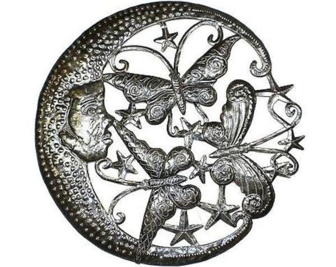 Moon and Butterflies Metal Wall Art 24-inch Diameter - Croix des Bouquets