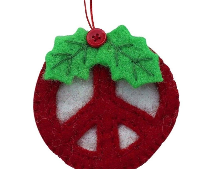 Red Peace Sign Ornament - Global Groove (H)