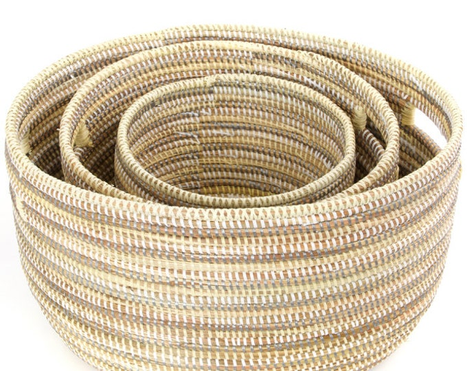 Set of Three Striped Silver, Cream & White Nesting Baskets