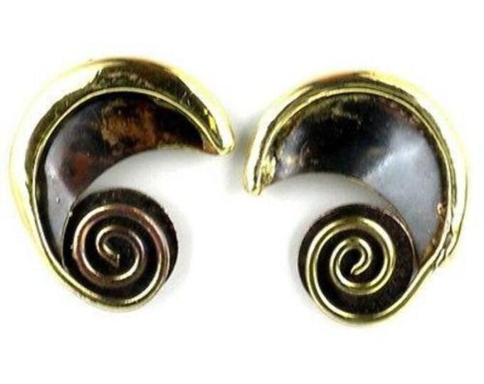 Evolution Brass Post Earrings - Brass Images (N)