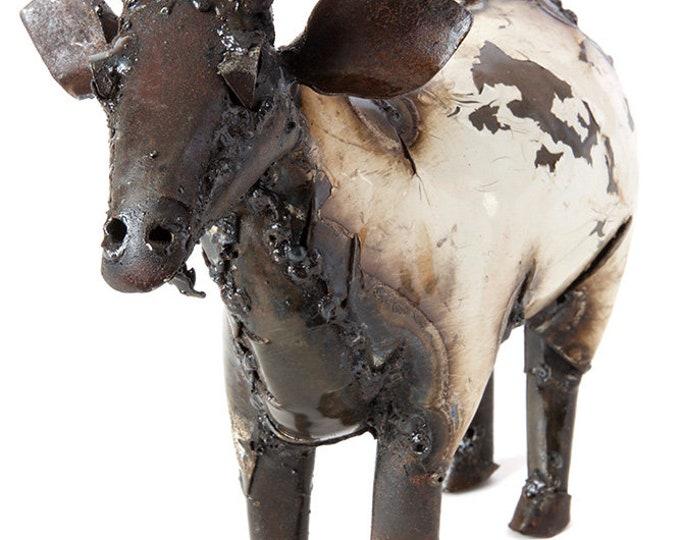 Medium Recycled Metal African Farm Goat Sculpture - Fair Trade