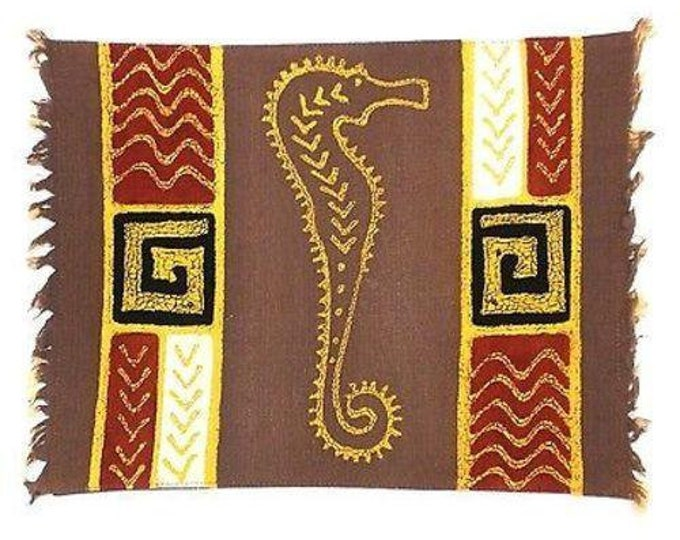 Handpainted Grey Seahorse Batiked Placemat - Tonga Textiles Fair Trade