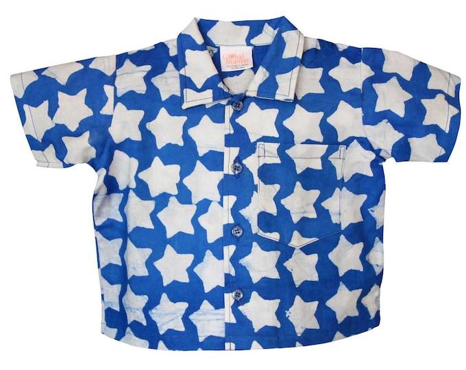Babies Button Down Shirt Stars Blue - Global Mamas (B)