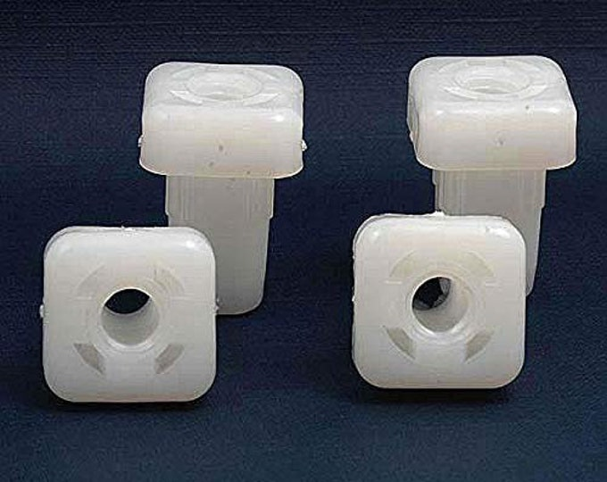 "White Plastic Bed Frame Insert Plugs for 3/8"" Threaded Glide, Set of 4"
