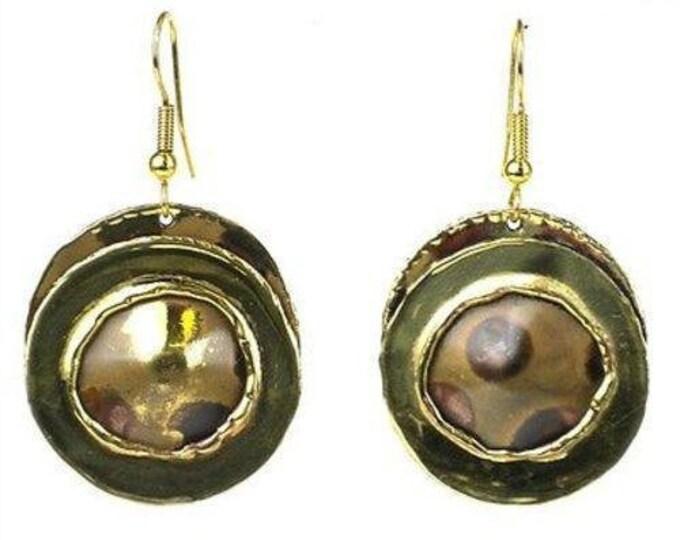 Encircled Spots Brass Earrings - Brass Images (E)