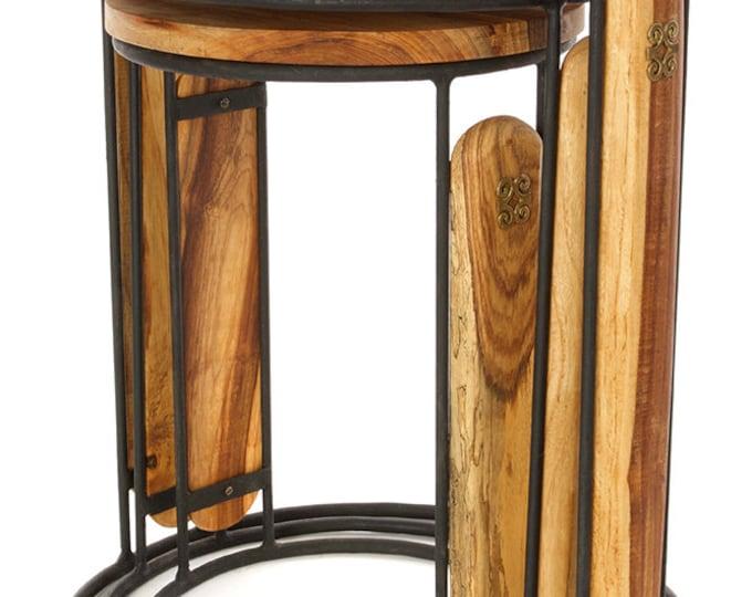 Set of Three Round Ghanaian Nesting Tables with Brass Dwennimmen Symbols