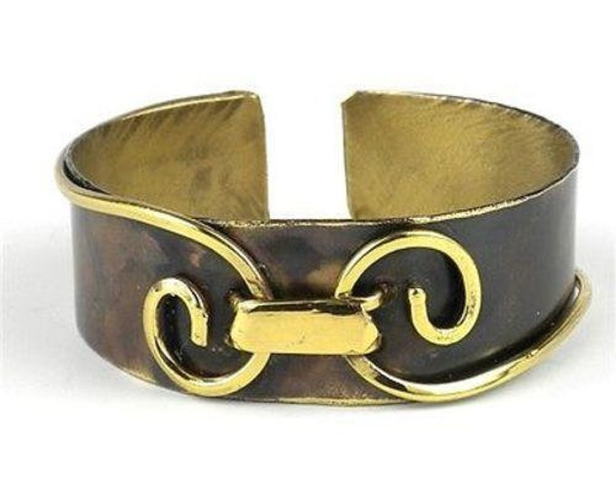 Narrow Connected Spirals Brass Cuff - Brass Images (C)
