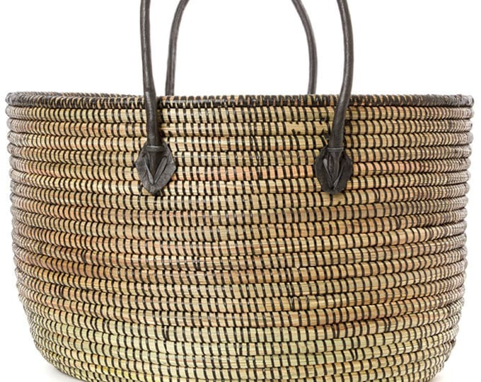 Black Dakar Floor Basket with Black Leather Handles