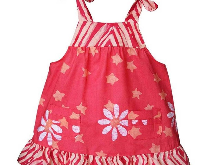 Baby Pocket Dress Papaya Daisy Star - Global Mamas (B)