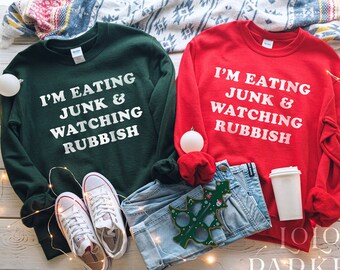 Unisex Funny Christmas Sweatshirt Home Alone Movie Quote Eating & Junk Watching Rubbish Holiday Party Graphic Sweatshirt Crewneck Sweater