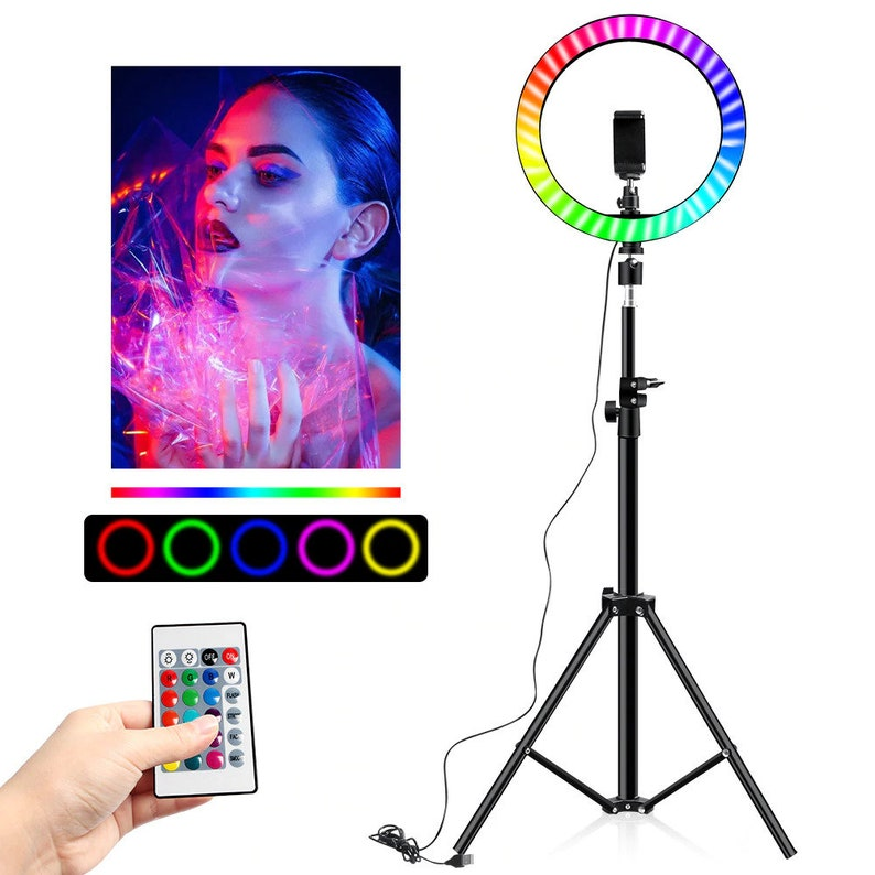 Colorful LED Ring Light 10 Inch 160CM Stand Rainbow Ringlight USB With Phone Stand 16 Light Colors For Live Broadcast Photo