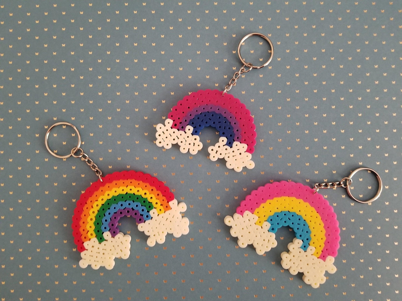 Rainbow Handmade Keychains Perler Beads Cute Designs