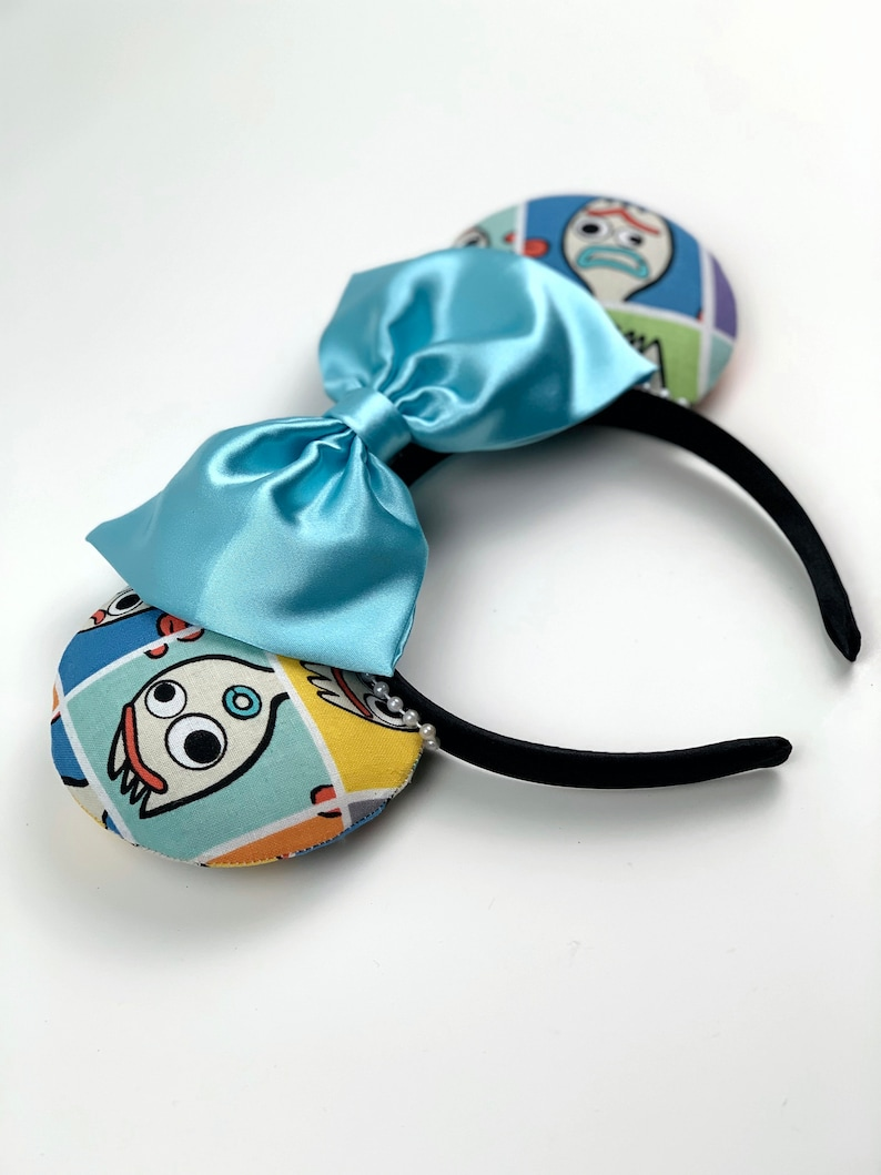 Toy Story Ears Satin Wrapped band Forky Ears | Basic Forky Toy Story 4 Mickey Ears Toy Story Minnie Ears Blue Satin Bow
