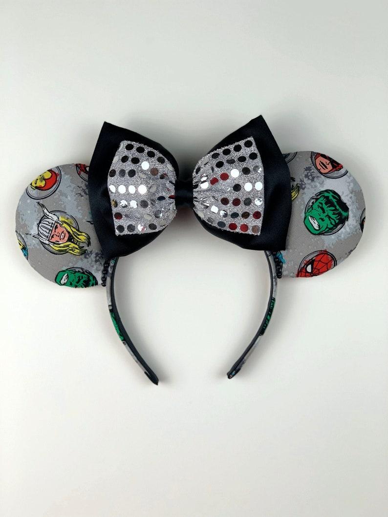 Avengers Ears Marvel Comics Thor Marvel Ears Disney MCU Mickey Ears Dual Satin Glitter Bow Minnie Ears Hulk