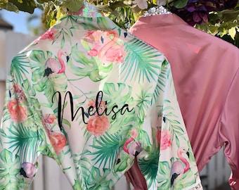 Bachelorette Party Robes Kimono FL720 Bridesmaid Robes Bridesmaid Gift Flamingo Robes Wedding Bridal Party Robes Tropical Leaf Robes