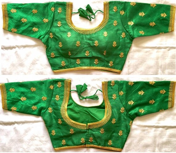 Designer Ready-made New Banglori Wedding Saree Floral Embroidery Stitched Blouse Crop Sari Top Party Wear Work For Women