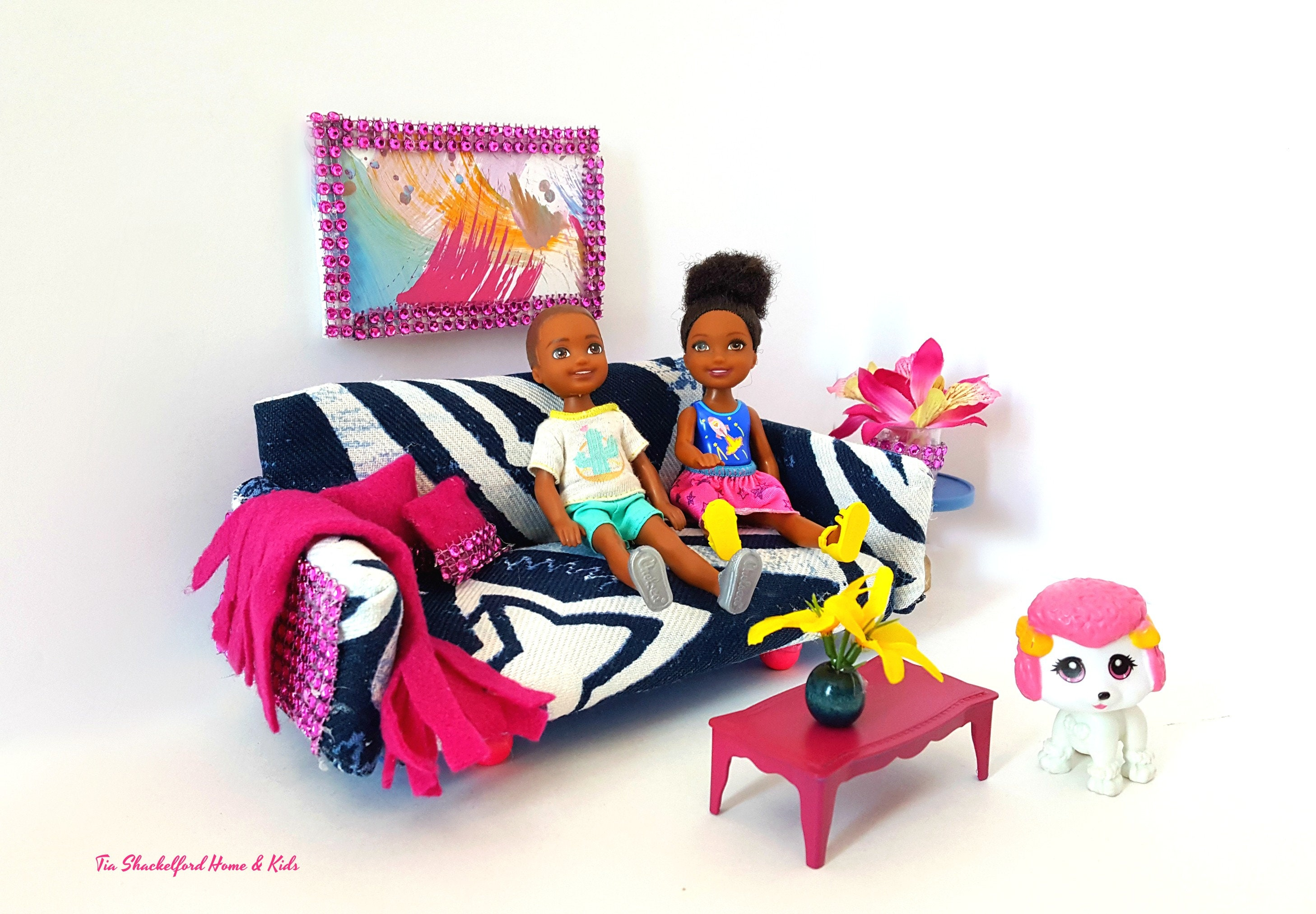 Doll Sofa, Dollhouse Furniture, Doll Couch, Miniature Blue Sofa, Miniature Furniture, Doll Toys, Doll Blanket for sale